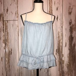 Lovestitch Large flounce her chambray Top